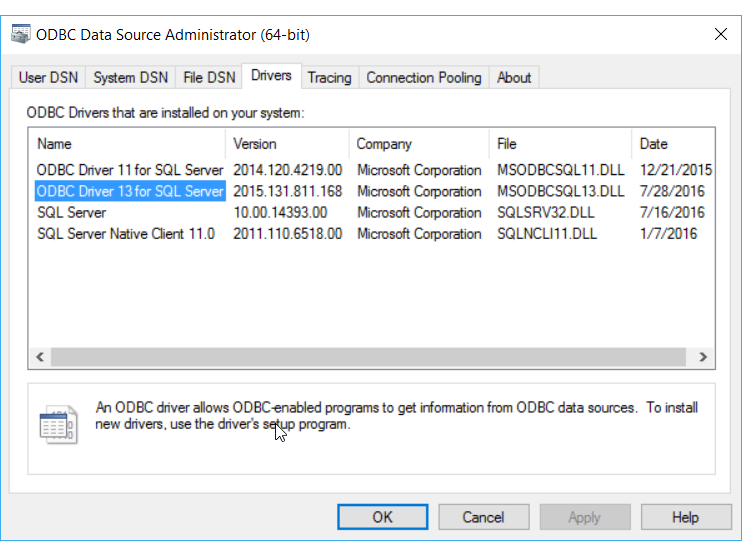 ODBC Driver For Windows Server 2016 Download Free